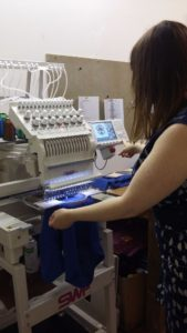 The SWF embroidery machine in use